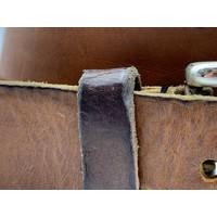 Stoere 4cm brede Cognac riem. Gewassen en vintage gemaakt leer en oud zilveren gesp