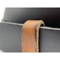 Stoere 4cm brede zwarte riem. Gewassen en vintage gemaakt leer en oud zilveren gesp. - Copy