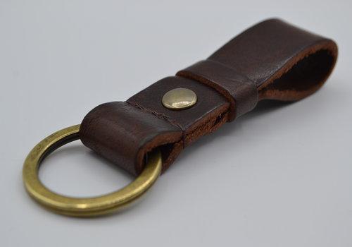 Scotts Bluf Bruine vintage sleutelhanger met naam of logo