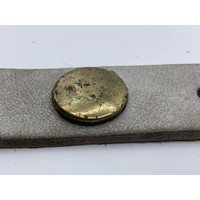 Petrol vintage gewassen heel licht grijze riem met bronzen, oud zilveren en koperen munten.