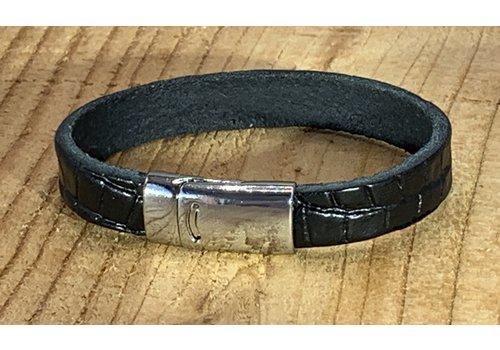Scotts Bluf Armband zwart met krokodil print.