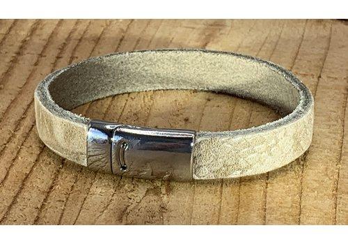 Scotts Bluf Armband ecru met krokodil print