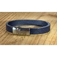 Blauwe armband vintage gewassen en gelaserd met leuke print.