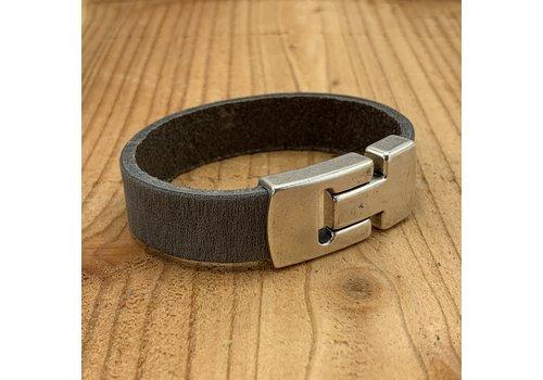 Scotts Bluf Grijze echt leren heren armband met gave magneetsluiting