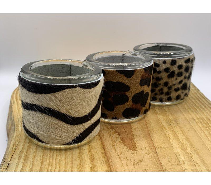 set van 3 waxinelichthouder met panter, luipard en/of zebra print