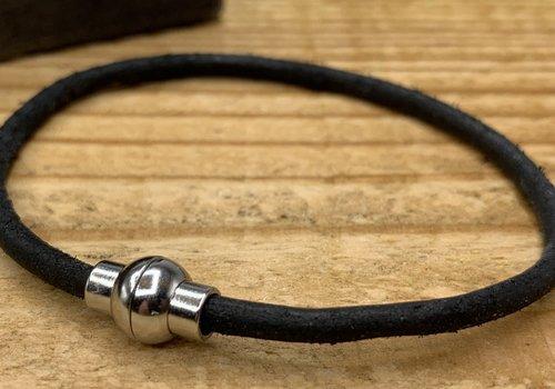 Scotts Bluf Smal armbandje van zwart 3mm dik echt rondleer