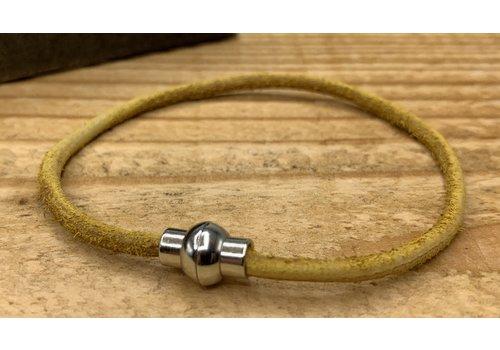 Scotts Bluf Smal armbandje van oker geel 3mm dik echt rondleer.