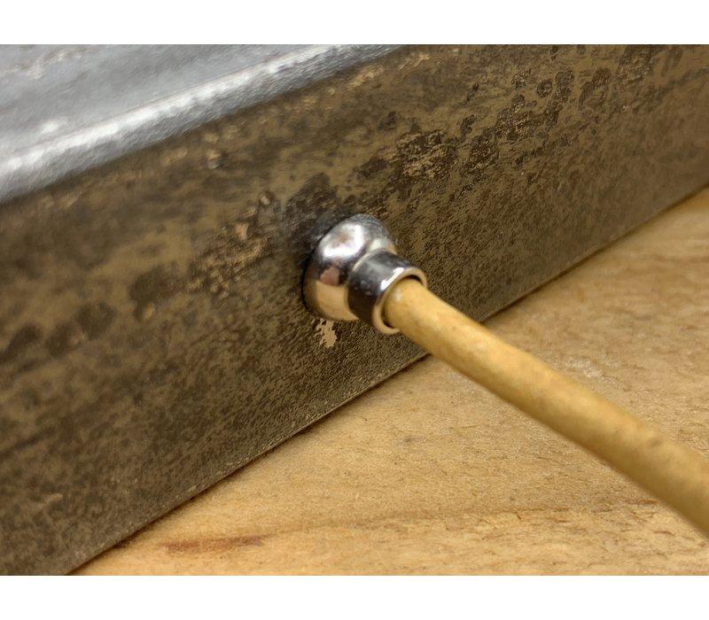 Smalle gele armband van 3mm dik rondleer en zilveren magneet sluiting. - Copy