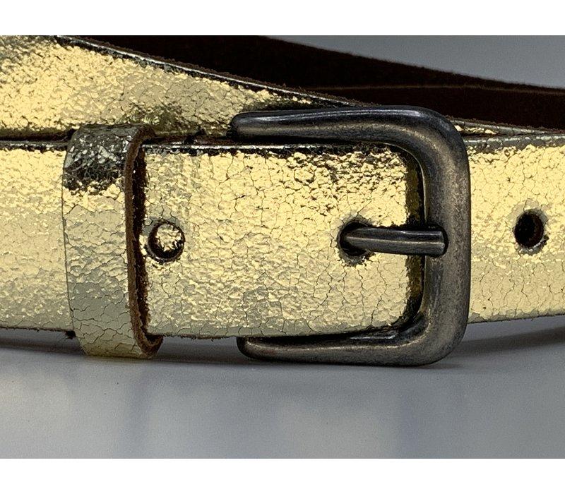 Goud kleurige riem met leuke oud nikkele gesp. 3cm breed en gemaakt van echt leer.