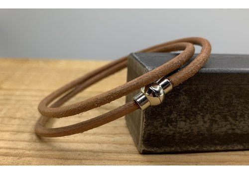 Scotts Bluf Smal dubbel armbandje van 3mm dik echt rondleer.
