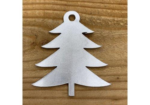 Rock 'n Rich Kerstbal met boomvorm van zilver leer.