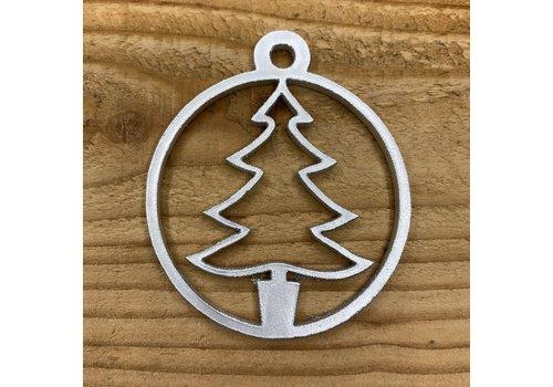 Rock 'n Rich Kerstbal met boomvorm in cirkel van zilver leer.