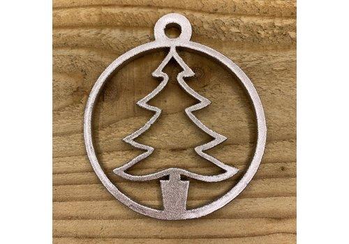 Rock 'n Rich Kerstbal met boomvorm in cirkel van rose goud leer