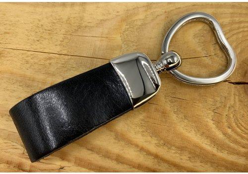 Scotts Bluf Zwarte sleutelhanger met hart vormige sleutelring.