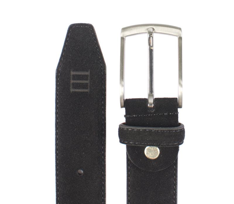 zwarte echt leren riem gemaakt van suede  en makkelijk aanpasbaar d.m.v. een schroefje