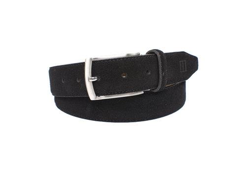 Tresanti zwarte 35mm brede suede lederen riem