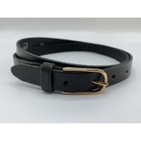 Zwarte smalle riem van 2cm breed met elegante gouden gesp