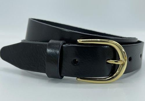 Scotts Bluf Zwarte 35mm brede riem met gouden gesp