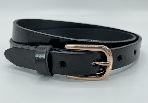 Scotts Bluf Zwarte 20mm brede riem met rose gouden gesp.