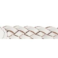 160cm lange knoopriem van wit gevlochten leer afgewerkt met smalle gouden gesp.