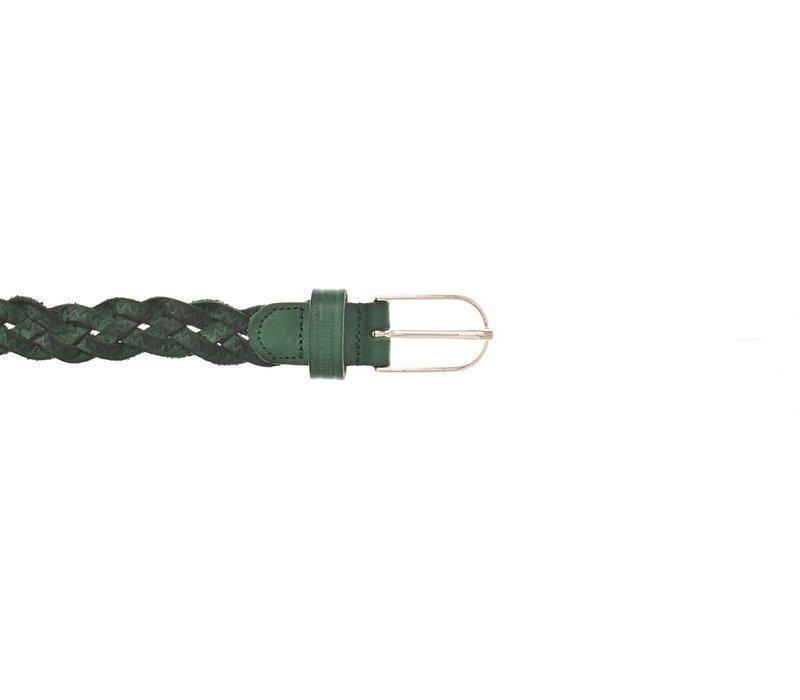 160cm lange knoopriem van groen gevlochten leer afgewerkt met smalle gouden gesp.