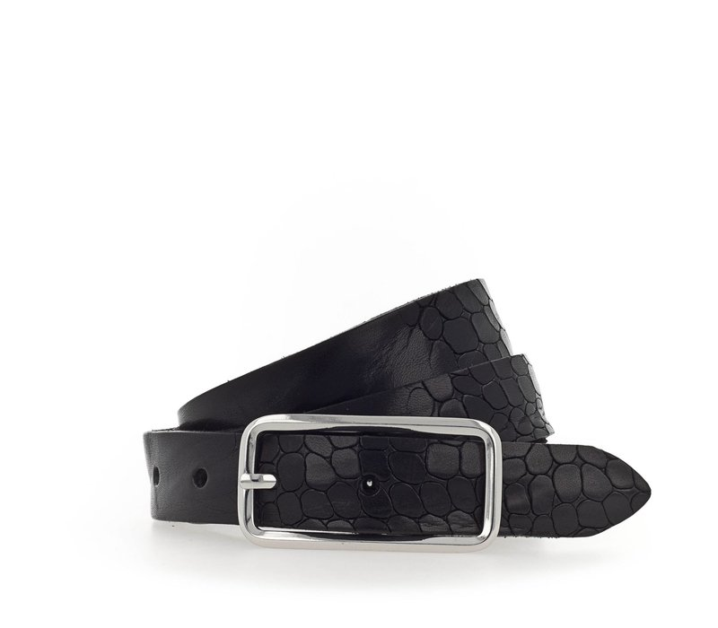 Smalle zwarte damesriem met krokoprint. superleuk als tailleriem of casual riem.