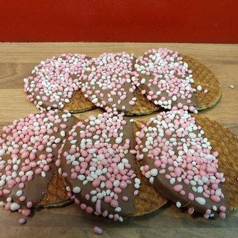 Stroopwafelkraam.COM Stroopwafel met Roze muisjes