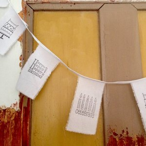 Girlande Geburtstag receceltes Papier /Baumwolle
