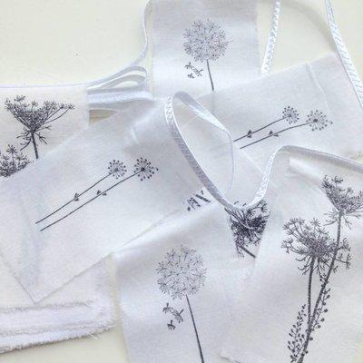 Girlande Nature recyceltes Papier / Baumwolle