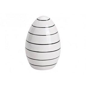 Osterei Ei Porzellan schwarz/weiß gestreift Größe M