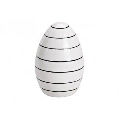 Osterei Ei Porzellan schwarz/weiß gestreift