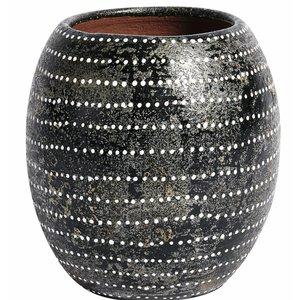 MUUBS Vase Ocean schwarz, weiße Punkte
