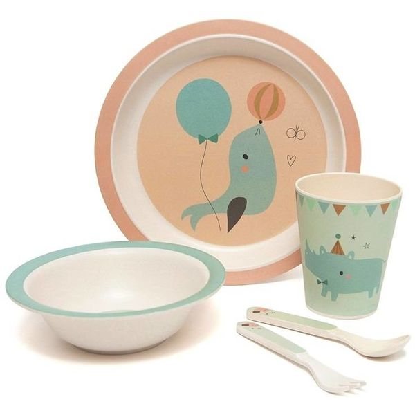 PETIT MONKEY - Bamboe servies set Seal Peach