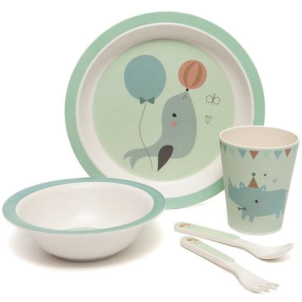 PETIT MONKEY - Bamboe servies set Seal Mint