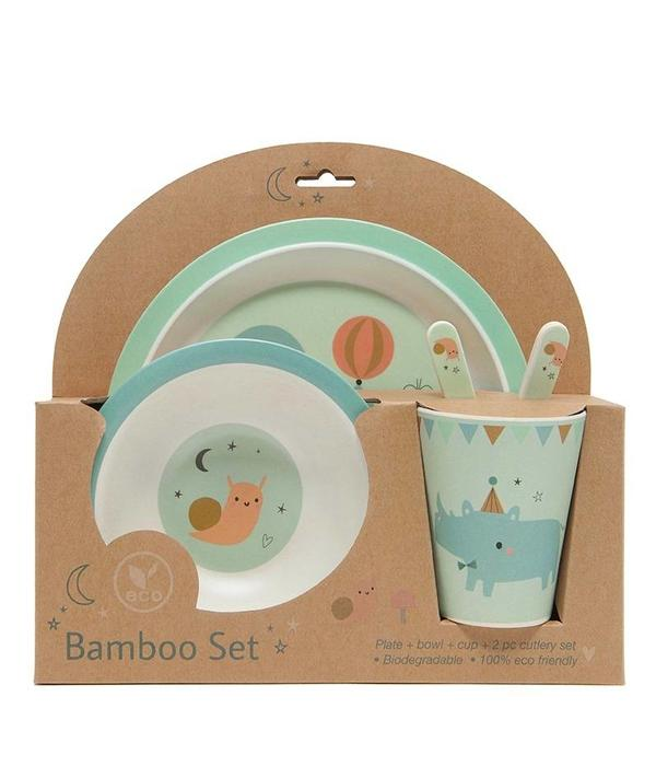 Petit Monkey PETIT MONKEY - Bamboe servies set Seal Mint