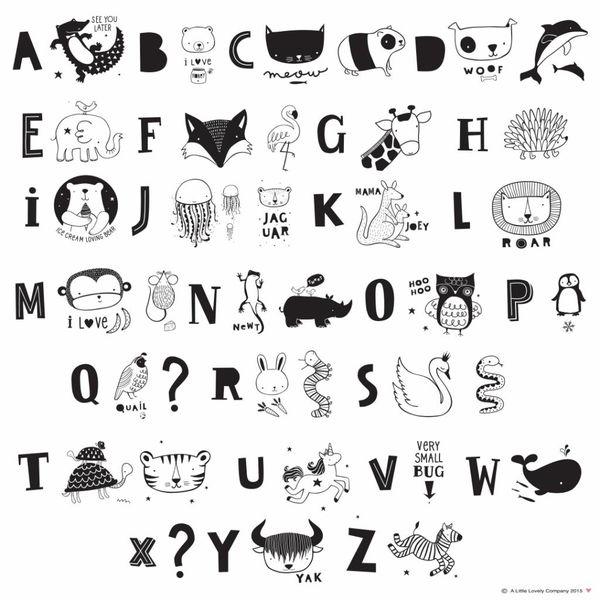 A LITTLE LOVELY COMPANY - Lightbox letterset ABC zwart