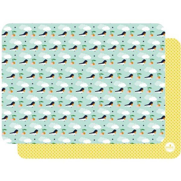 BANDJO - Placemat vogels licht blauw / geel
