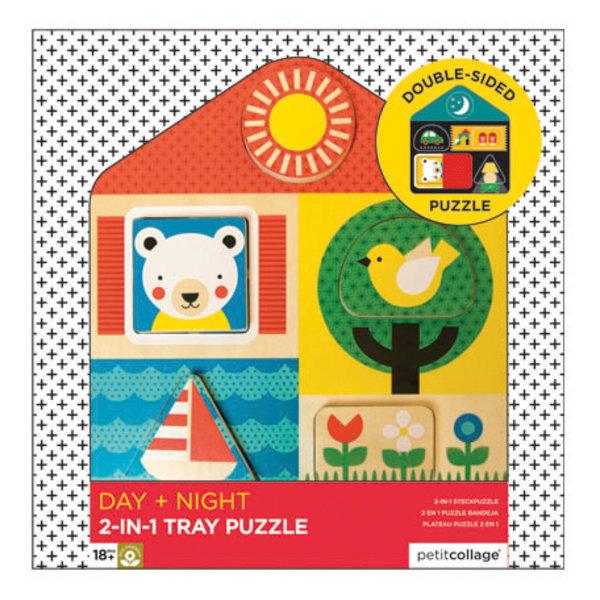 PETITCOLLAGE - 2 in 1 houten puzzel Dag & Nacht