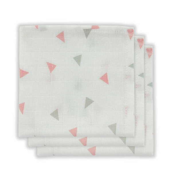 Little Lemonade - Monddoekje hydrofiel triangle Grey/Pink 3pack