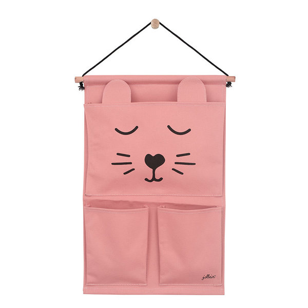 JOLLEIN - Canvas wand organizer animal club Roze