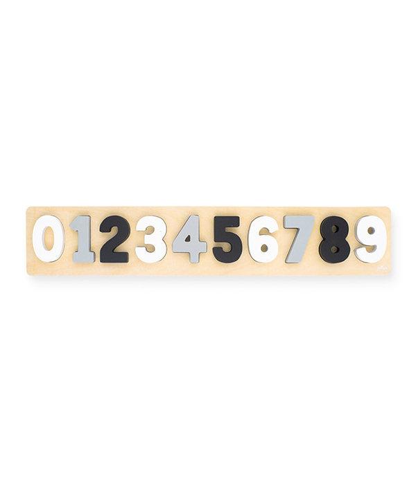 Jollein Jollein - Houten cijfer puzzel grijs