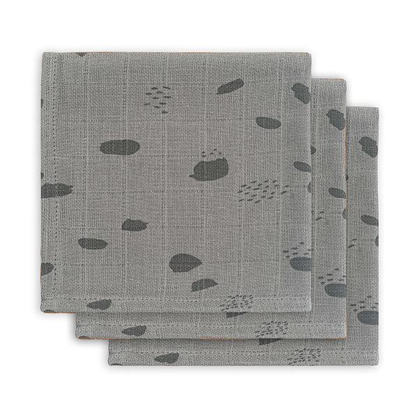 JOLLEIN - Monddoekje hydrofiel Spots Grijs 3pack