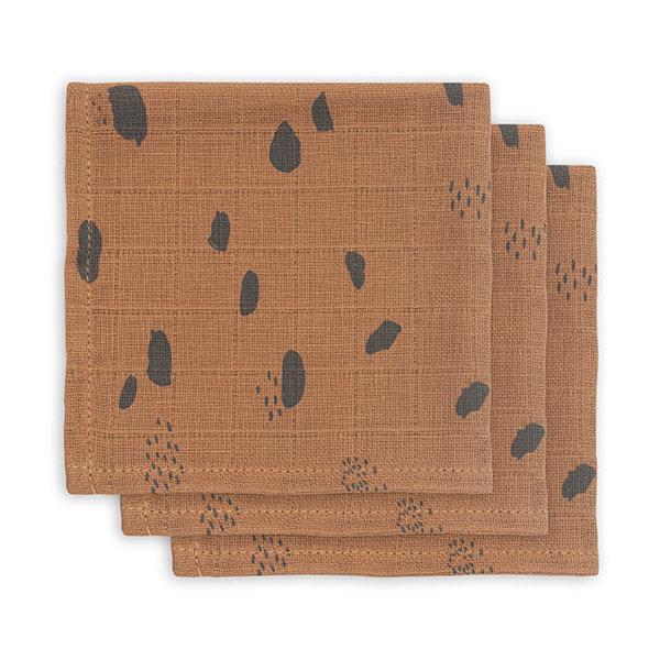 JOLLEIN - Monddoekje hydrofiel Spots Caramel 3pack