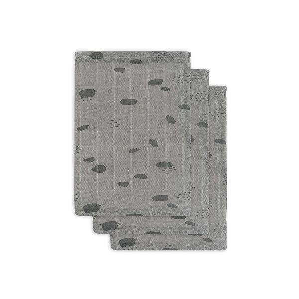 JOLLEIN - Hydrofiele washandjes spots Grijs 3 pack