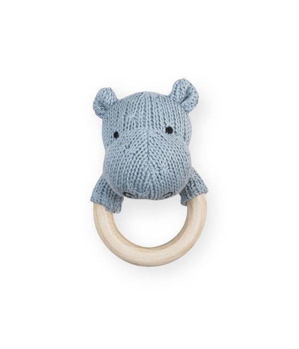 Jollein Jollein - Bijtring rammelaar Hippo soft blue