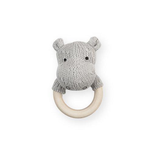 Jollein Jollein - Bijtring rammelaar Hippo light grey