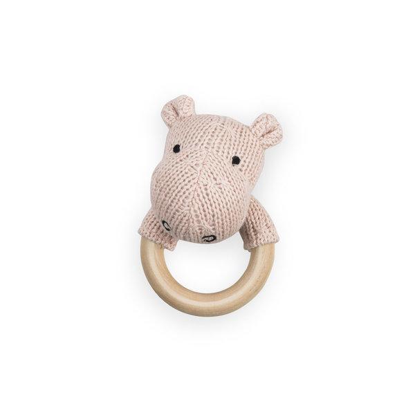 Jollein - Bijtring rammelaar Hippo peach roze