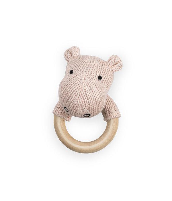 Jollein Jollein - Bijtring rammelaar Hippo peach roze