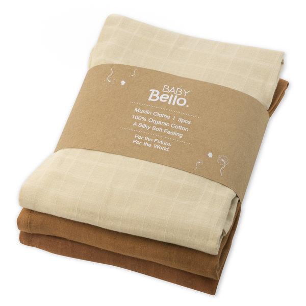 Baby Bello - Hydrofiele doeken set van 3 Sandy Almond