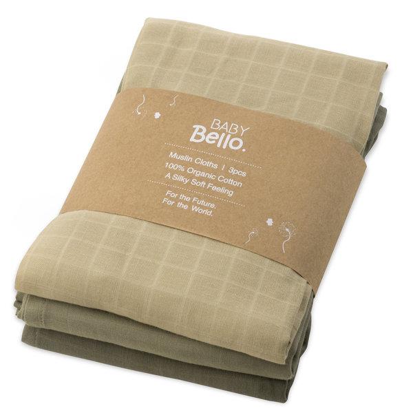 Baby Bello - Hydrofiele doeken set van 3 Dusty Olive